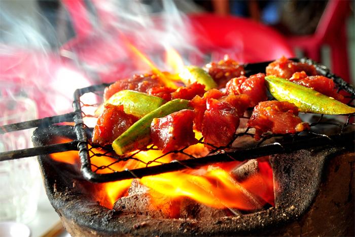 BBQ at Lac Canh Restaurant in 44 Nguyen Binh Khiem Str, Nha Trang