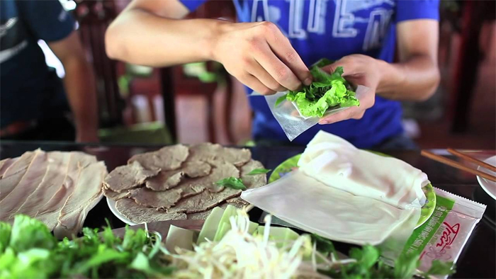 Steamed pork rolled in rice paper at Tran Restaurant - 4 Le Duan, Da Nang City