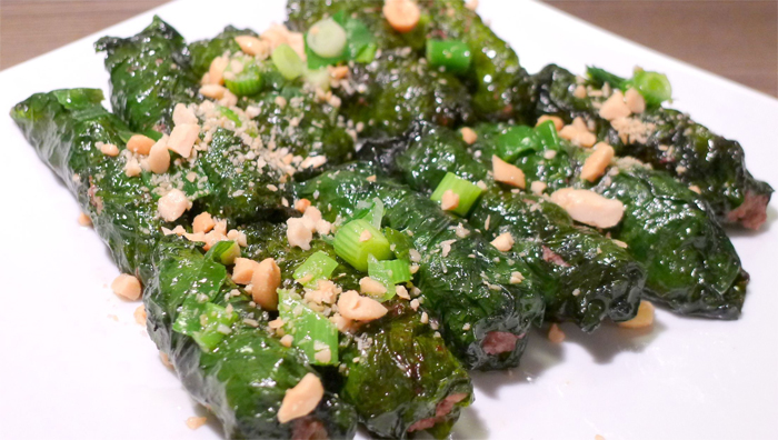 Bo La Lot - The grilled meat wrapped in betel leaves