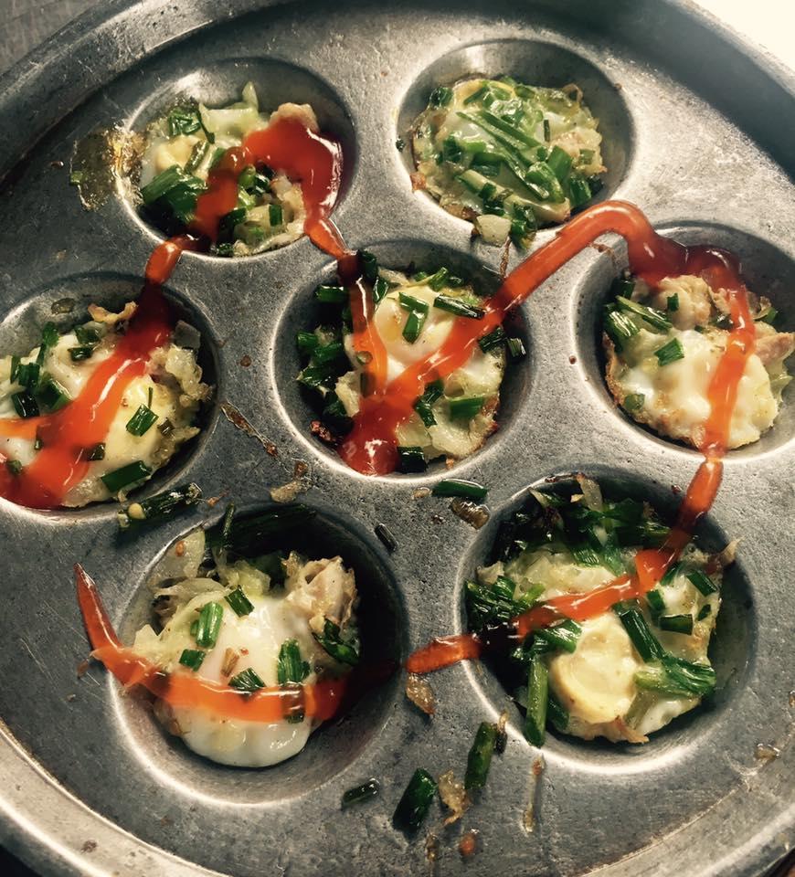 Scallops and quail eggs