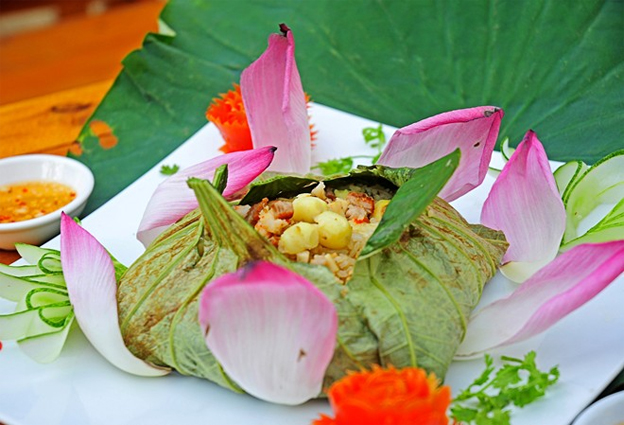 Lotus flower and leaf in Vietnamese cuisine