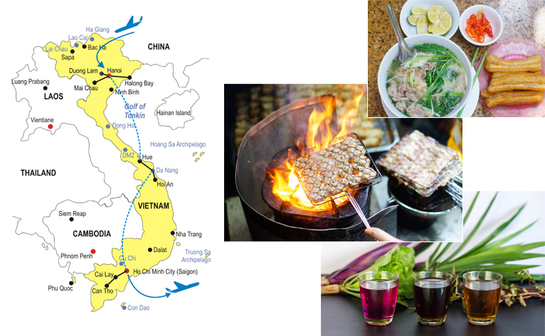 15-Day Vietnam Food Tour Map