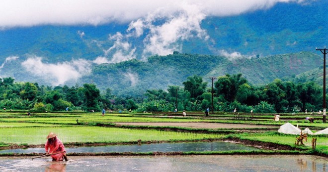 Mai Chau Valley at the beginning of the rice crop