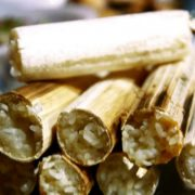 Sticky rice cooked inside the bamboo – the traditional authentic food of Thai people in Mai Chau