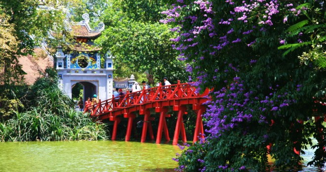 Ngoc Son Temple at Hoan Kiem Lake in Hanoi