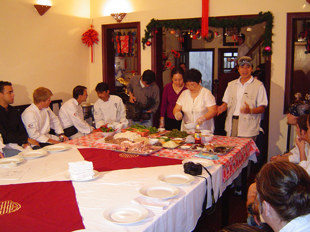 During a cooking class at Anh Tuyet Restaurant