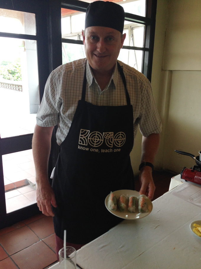 Mr.Kelly at the cooking class at KOTO restaurant in Hanoi