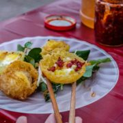 Banh Can (a kind of thick local pancake with quail eggs)