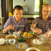 Vegetarian lunch at Dong Thien pagoda in Hue