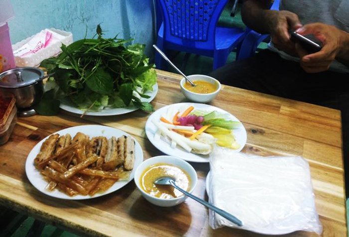 Grilled Pork Roll (Nem Nướng) - You can find out this Da Lat Street Food easily on Phan Dinh Phuong Street