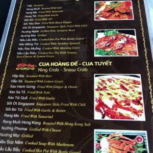 The menu at Le Gia 1 restaurant in Da Nang City