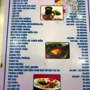 Menu at Ba Thoi seafood restaurant in Da Nang