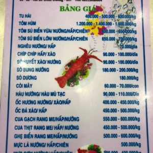 Menu at Ba Thoi seafood restaurant in Da Nang