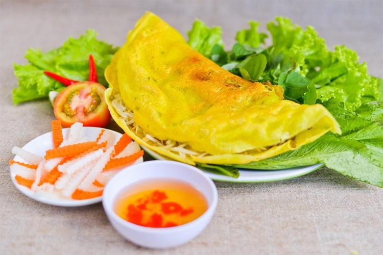 Pancake with common sesban (Bánh Xèo Bông Điên Điển)