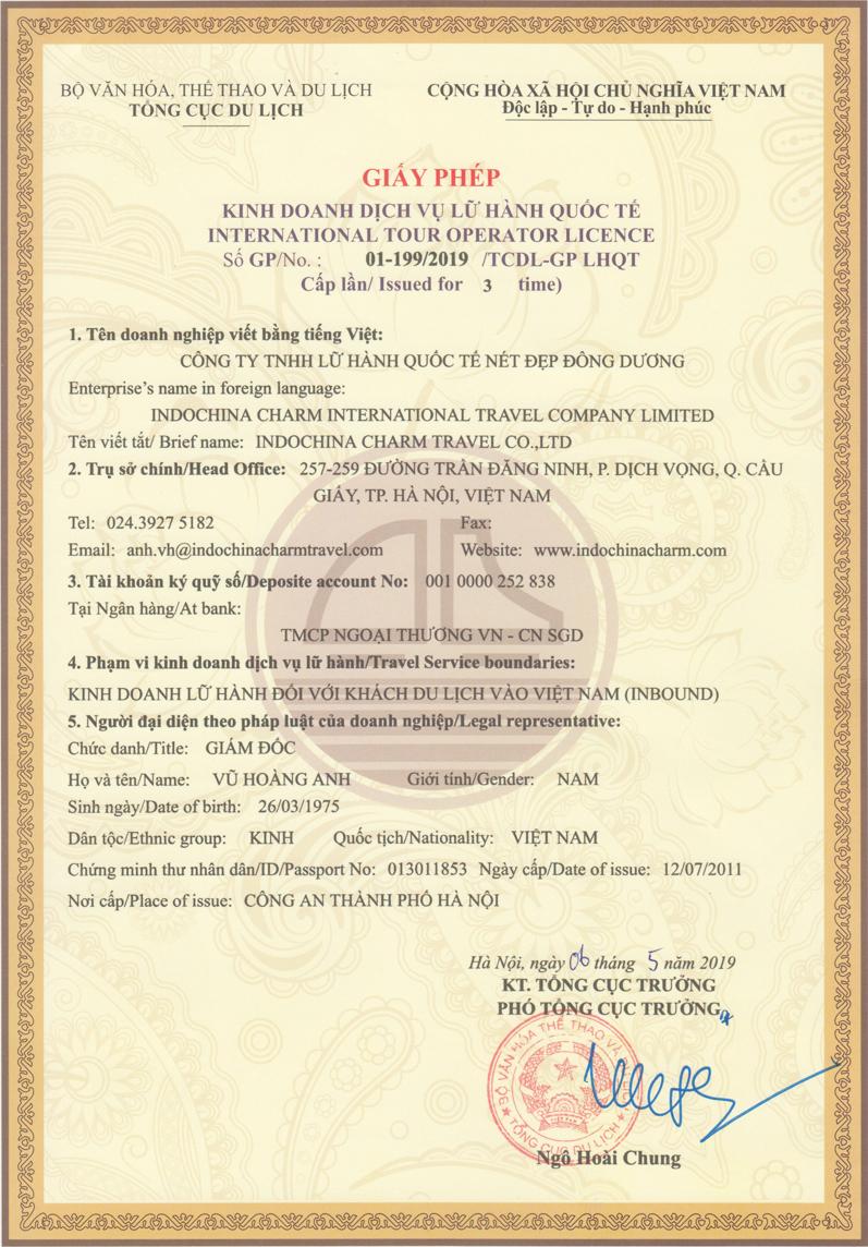 Indochina Charm Travel International Tour Operator License