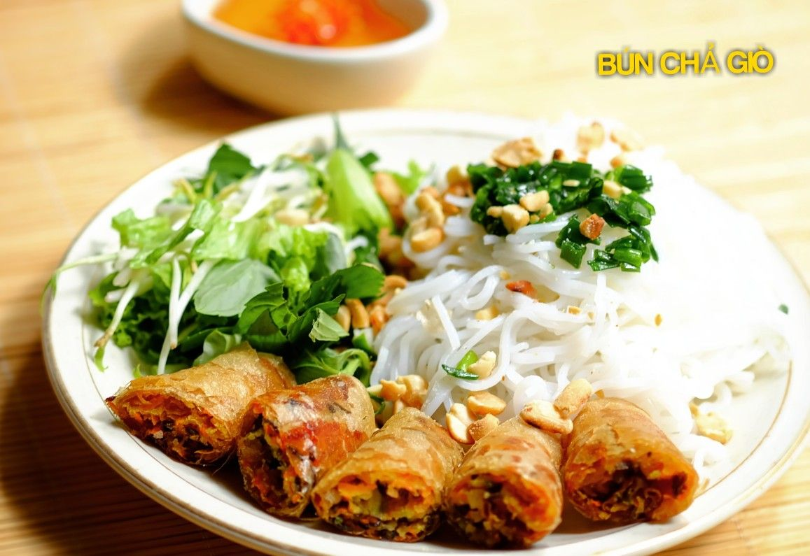 Noodles with Vegetarian Spring Rolls (Bun Cha Gio Chay)